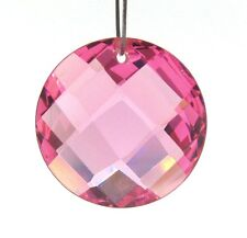 2 PINK CUBIC ZIRCONIA 18mm Faceted Coin Beads