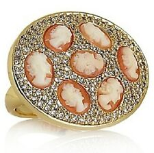 HSN AMEDEO NYC GOLDTONE 8MM CORNELIAN & CZ MULTI-CAMEO PAVE RING SIZE 5