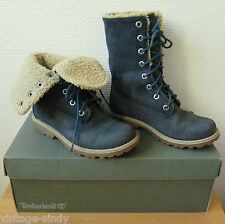 TIMBERLAND KID'S BLUE ROLL TOP FAUX FUR LINED BOOTS | Size UK 12.5 EU 31 US 13