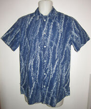 PAUL SMITH RED EAR Casual Shirt Blue Indigo-Dyed Willow Print Cotton Sz S