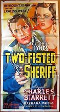 CUT $75 TWO-FISTED SHERIFF 1937 3 SH POSTER STARRET  GORGEOUS WESTERN ART!