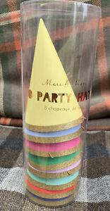 Meri Meri Cone Party Hats X 8 Multicoloured Brand New Gorgeous!