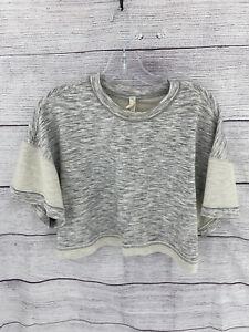 FP Movement Heather Gray & White Cropped Short Sleeve Sweatshirt - M