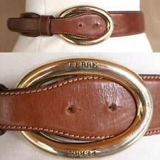"VTG GIANFRANCO FERRE Italy Carmel Leather Belt Huge Gold Insignia Buckle 28-30"""