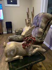 Vintage Primitive Paper Mache Large Reindeer Christmas Decor Sitting 20� X 21�