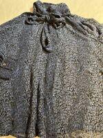 Vintage Pendleton Women's Blue Printed Silk Blouse Neck Bow Shirt Size 18