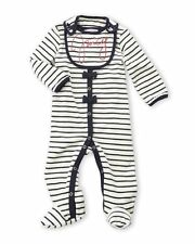 New Juicy Couture Baby Girl 2pc striped velour footie footed bodysuit & bib 3-6M