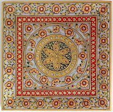 Rajasthani Jaipur Marble Plate Decor Painting Handmade Floral Motif Indian Art