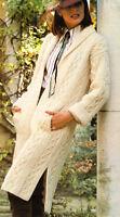 "Aran Coat Knitting Pattern - Rich Texture -  Pockets & Side Vents - 34"" - 38"""