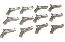 LEGO LOT OF 12 NEW PEARL DARK GREY REVOLVER GUNS PISTOLS PIECES
