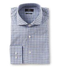 HUGO BOSS MARK US BLACK LABEL DRESS SHIRT SHARP FIT BLUE GRAY CHECKED -NWT