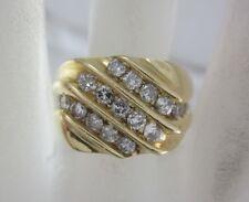 BEAUTIFUL MENS 14K YELLOW GOLD AND DIAMOND STRIPE RING; 11.5G 0.93CT.