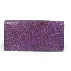 Real Purple Crocodile Leather Belly Skin Women Long Bi-fold Clutch Wallet Purse.