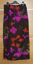 MONSOON brown floral print silk maxi skirt size 10