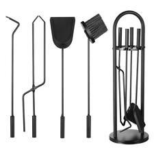 Black Wrought Iron Fireplace Tool Set Round Base Rustic Fireset Firepit Tool Set