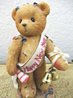 "Cherished Teddies New Years Collectible Figurine ""Ringing In The New Year"" Bear"