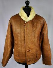 Shearling Nappa Leather Vintage Sheepskin Jacket Tan Brown 40/42 Medium L008