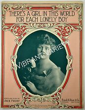 There's A Girl In This World For Each Lonely Boy Pretty Woman Sheet Music 1916