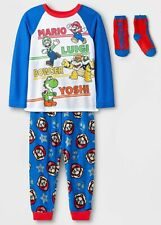 Super Mario Pajamas Size LARGE 10/12 Boys 3 piece Set +Socks Luigi,Yoshi,Bowser