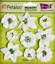 Assorted Flower Mix WHITE 9 Paper Flowers 2-4cm across Petaloo LB/P