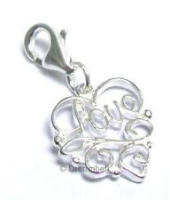 Sterling Silver Heart Love Dangle Charm Pendant European Lobster Clip On Charm