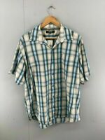 Jeep Mens Green Check Collared Short Sleeve Pocket Button Up Shirt Size XL