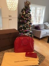 LOUIS VUITTON Vernis Alma GM Pomme D'Amour Red Patent Leather hand bag & Wallet!