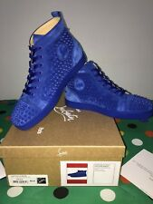 CHRISTIAN LOUBOUTIN Louis flat supreme Sneakers Uomo spikes azzurro 42,5 EU NEW