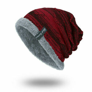 Women Men Winter Beanies Slouchy Chunky Hat Warm Soft Skull Skiing Knitting Hats