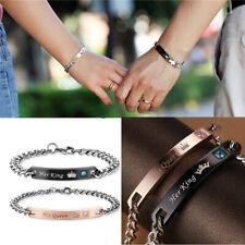 Pour Lui Reine Et Elle King Inoxydable Couple Bracelets Mariage Valentin Cadeau