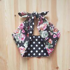 black rose black polka dot 50s style rockabilly,pin up, bandana headband