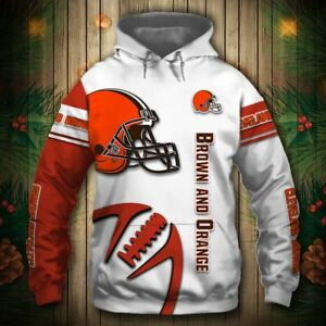 Cleveland Browns Mens Football Hoodie Casual Hooded Sweatshirt Active Pullover