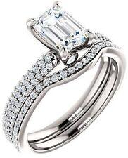 1.52 ct Emerald & round cut Diamond Engagement Wedding 14k White Gold Ring G SI1