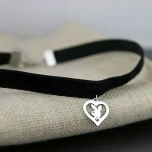 Silver Heart Bunny Playboy Necklace Choker for Women Stainless Steel