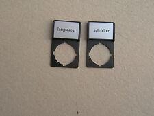 Klöckner Moeller RMQ 22 Bezeichnungsschild schneller/langsamer 2 Stück