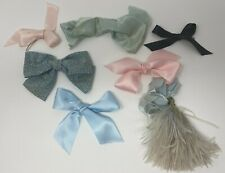 Vintage Lot Of 7 Doll Ribbons Bows Feather For Hats or Clothing
