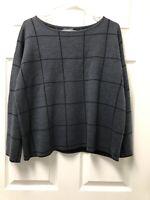 Eileen Fisher Gray 92% Extra Fine Merino Wool Pullover Sweater Medium