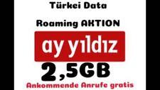 AyStar Ay Yildiz Prepaid Sim-Karte inkl. TÜRKEI INTERNET FLAT 2,5GB Roaming frei