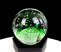 "MURANO ITALY ART GLASS GREEN CONTROLLED BUBBLE FROTH FIELD 3 1/8"" PAPERWEIGHT"