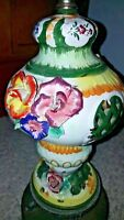 Vintage Capodimonte floral lamp withbasket or Valance on sides
