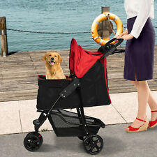 Foldable Dog Stroller Pet Travel Carriage Portable Carrier w/ Cup holder &Basket
