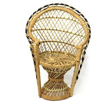 Vintage Doll Furniture Chair Display Peacock Fan Back Wicker Rattan