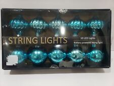 Christmas BATTERY OPERATED Turquoise Ornaments String Lights NEW
