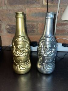 LUCKY BUDDHA BEER BOTTLES ORNAMENTS, ENLIGHTENED EMPTY COLLECTABLE GOLD SILVER!!