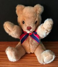 Gund 1993 Teddy Bear Beige Plush Jointed Red Blue Striped Neck Ribbon