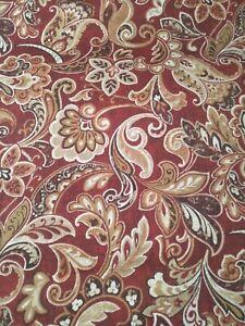 "Solarium Outdoor Polyester Canvas Fabric~Rust Beige Jacobean~2 3/4 Yd x 54"""