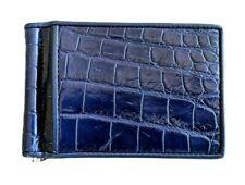 Wallet Money Clip Genuine Crocodile Real Leather Men Bifold Card Holder Blue