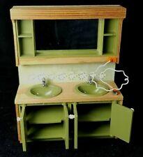 Vintage 1970s Swedish Lundby Smaland MidC Dollhouse Avocado Bathrm Dbl Sink EXC