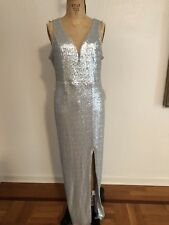 Silver Sequin VENUS Plunging Neckline Sexy Bombshell Evening Gown L NWT