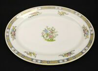 Noritake Pekin Fine China 11 1/2  inch Oval Platter White Pink Blue Gold